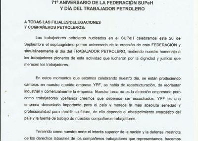 71º ANIVERSARIO FEDERACION SUPEH - DIA DEL TRABAJADOR PETROLERO